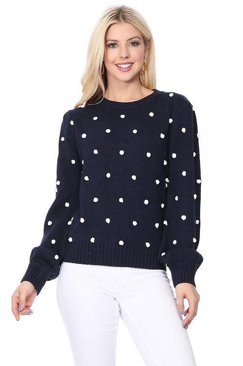 *Pom Pom Sweater-Navy