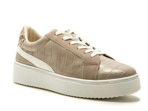 Qupid Taupe Croco PU Lace Up Sneaker