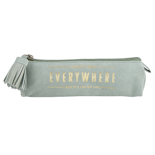 Suede Leather Pouch w/Gold Foil Print