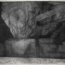 Sans titre, 2018, fusain sur toile, 220x270 cm.