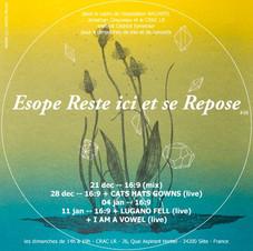 ESOPE RESTE ICI ET SE REPOSE #06  Jonathan Chauveau & le Centre Régional d'Art Contemporain Languedoc-Roussillon invitent Cedrick Eymenier et le label Coriolis Sounds pour une intervention sonore tous les dimanches de 14h00 à 19h00 dans le cadre de l'exposition collective L'ARCHIPEL.