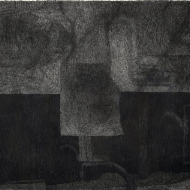 Sans titre, 2019, fusain sur toile, 220x270 cm.
