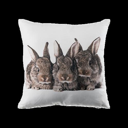 Kussen Suéde 3 konijnen print