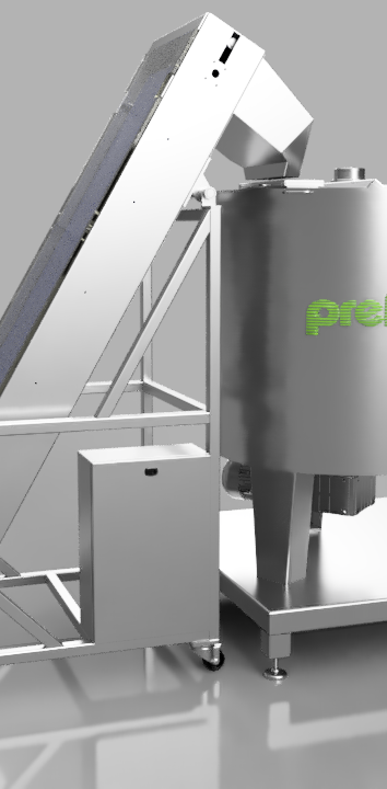 Melting and mixing kettle 500 L - Giraffe conveyor with cleats
