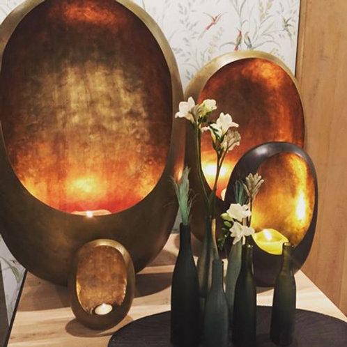 Dekocandle standing egg theelight (zinc outside en gold inside)