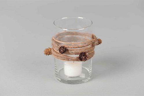 Rope wrap taupe - glazen votief