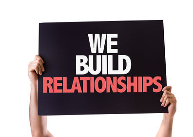 We Build Relationships card isolated on