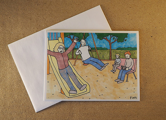 Grandparents at the Playground Greeting Card