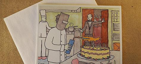 Blowtorch the Birthday Cake Greeting Card