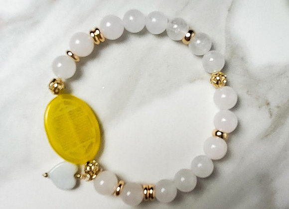 Bracelet -Yellow Onyx and only Jade Beads