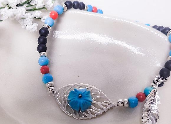 Bracelet - SS, Turquoise, Onyx