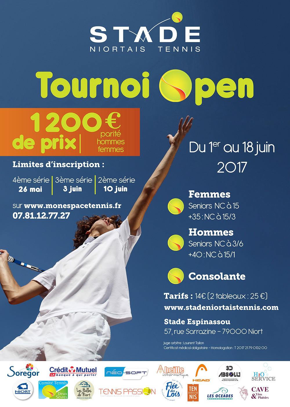 Affiche du tournoi Open 2017 du stade niortais tennis
