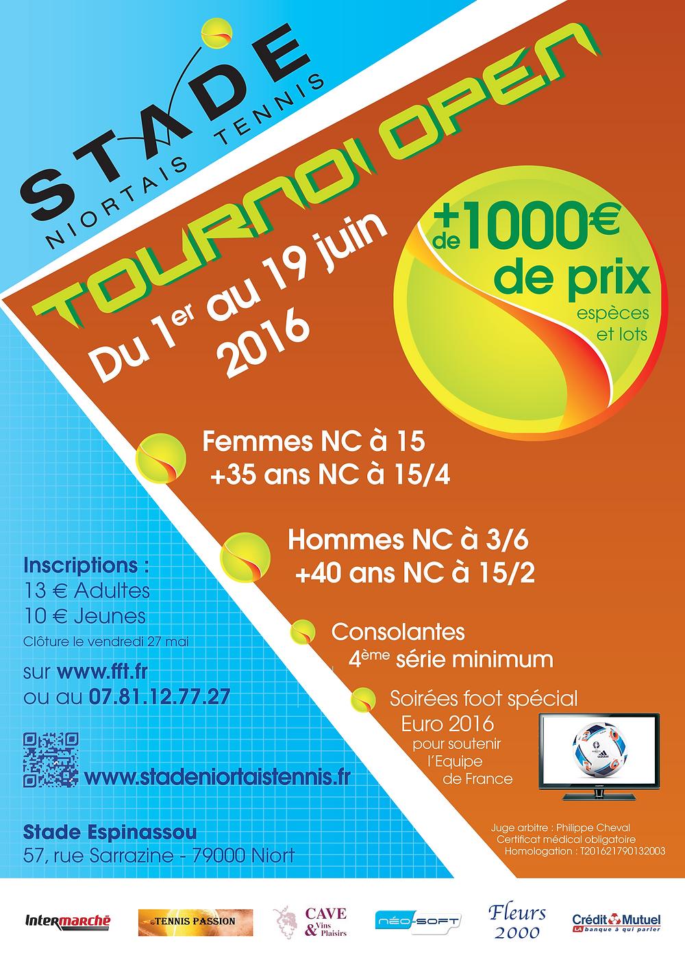 affiche du tournoi open 2016 stade niortais tennis