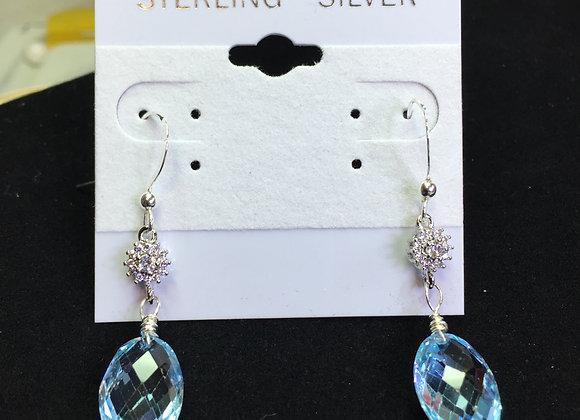 Earrings - SS, Blue Topaz