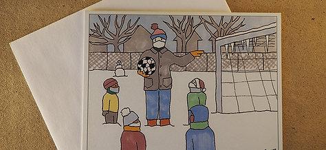 Winter Soccer Greeting Card