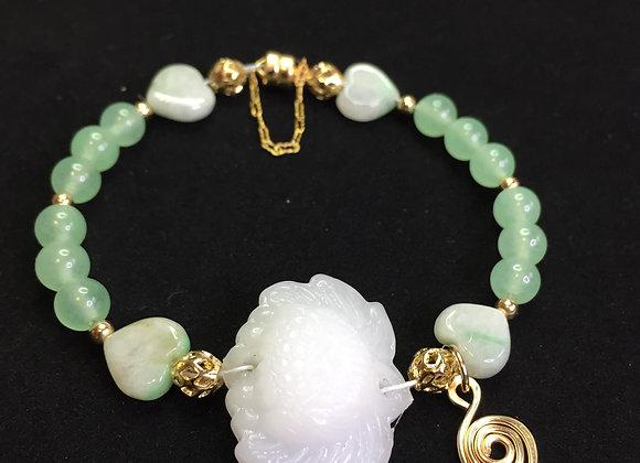 Bracelet - White and Green Jade, GF