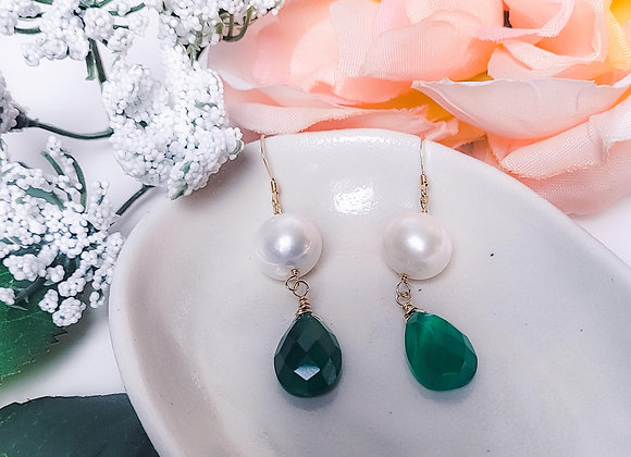 Earrings, GF, Pearl, Green Chalcedony