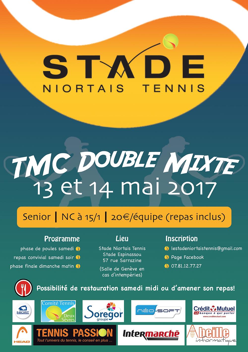 affiche du TMC double mixte 2017 du stade niortais tennis