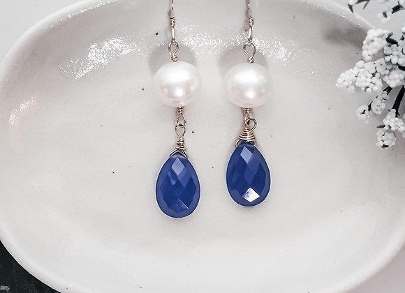 Earrings, GF, Pearl, Royal Blue Chalcedony