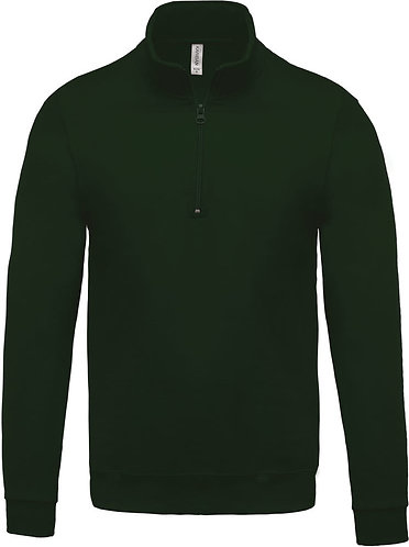 Felpa Kariban verde scuro zip corta