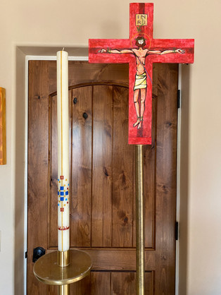 Easter Candel and Porcessional Cross