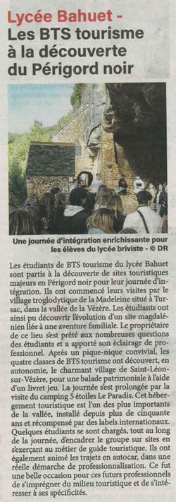 La vie corrézienne - Les BTS tourisme à la découverte du Périgord noir - 08-10-2021