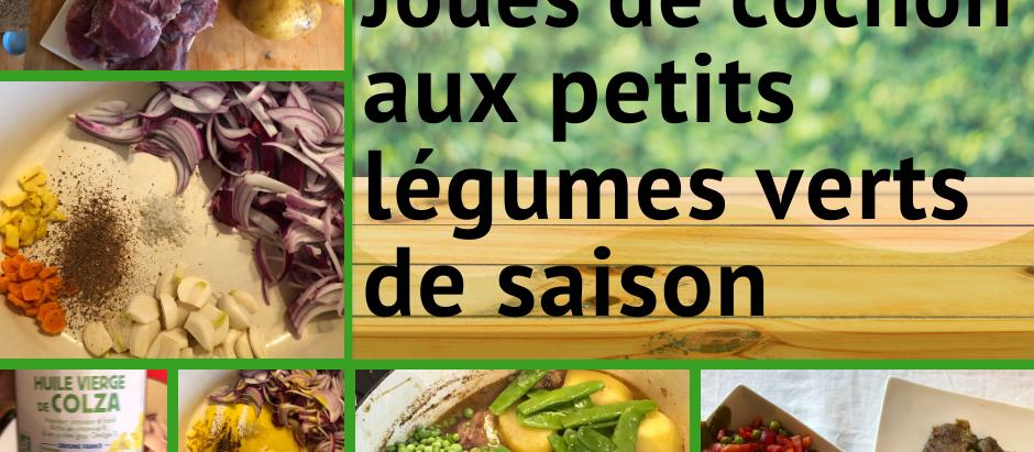 Joues de cochon aux petits légumes verts de saison