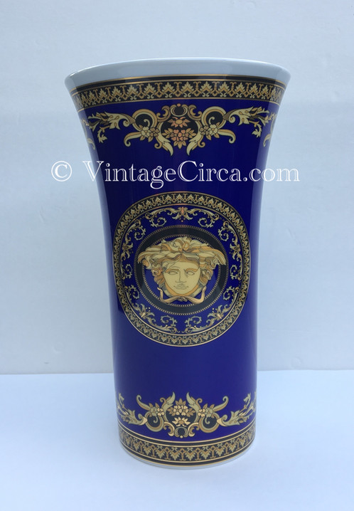 Rosenthal Versace Medusa Blue Vase Giftware Porcelain China Large