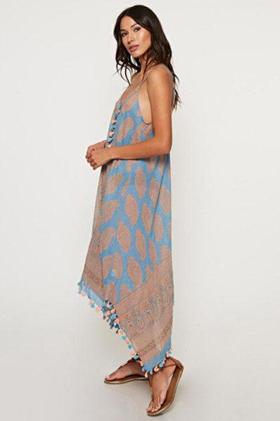 Scarf Print Dress in Blue/Peach