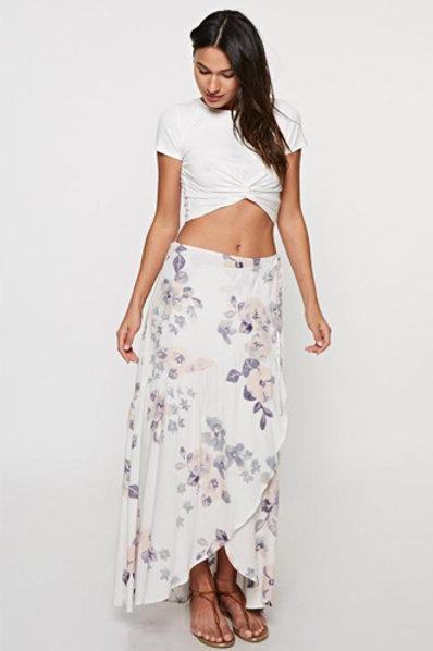 Ruffle Maxi Skirt in Blush/Vanilla