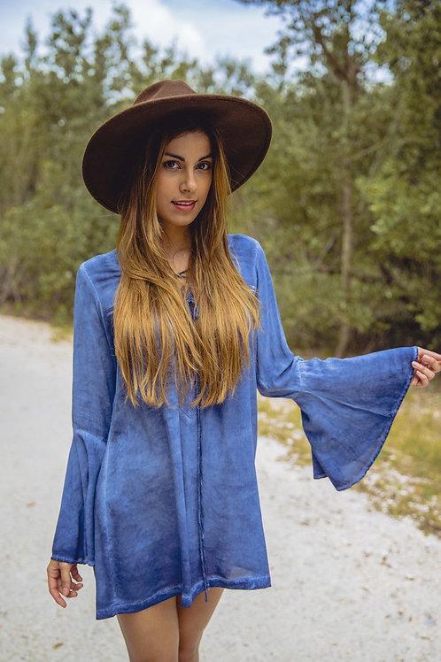 Blue Life Lace Up Tunic Dress in Indigo Denim