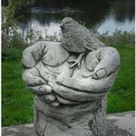 Stone Hand Bird Bath