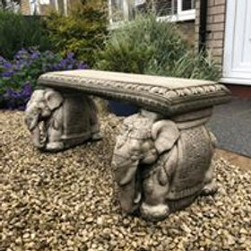 Stone Elephant Bench