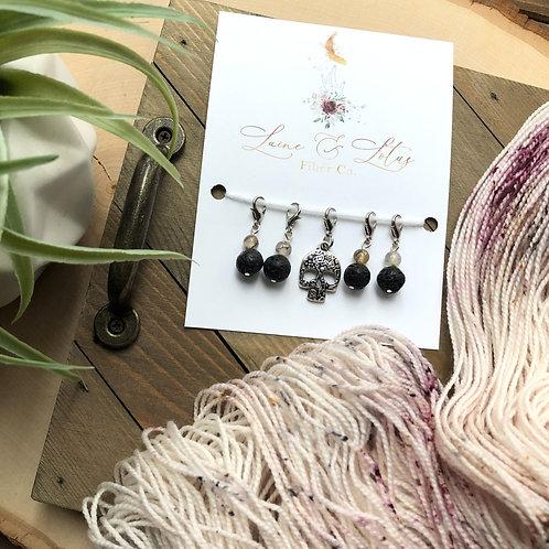 Skull & Lava Bead Stitch Marker Set