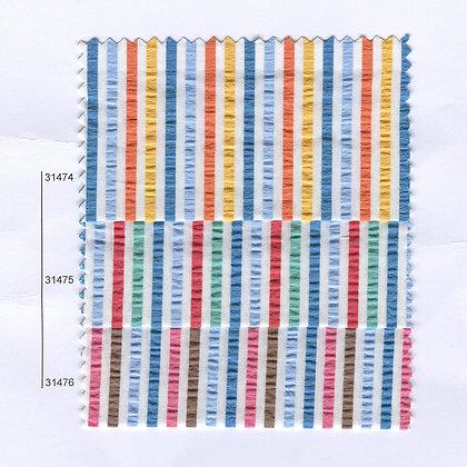 Art.A594 Seersucker Раиран памучен плат с гънки