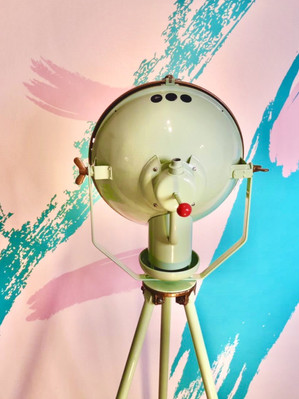 Vintage photo booth with funky backdrop