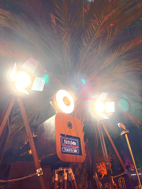 Flicksbox under a palm tree at an Eden wedding