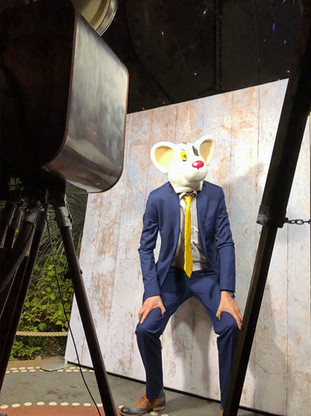 Man in suit posing for photo booth shoot