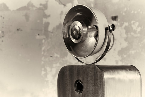 Stylish retro photo booth in black and white