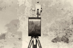 Side image of retro photo booth