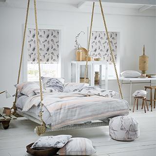 Plume Fabric for fresh roman blinds.