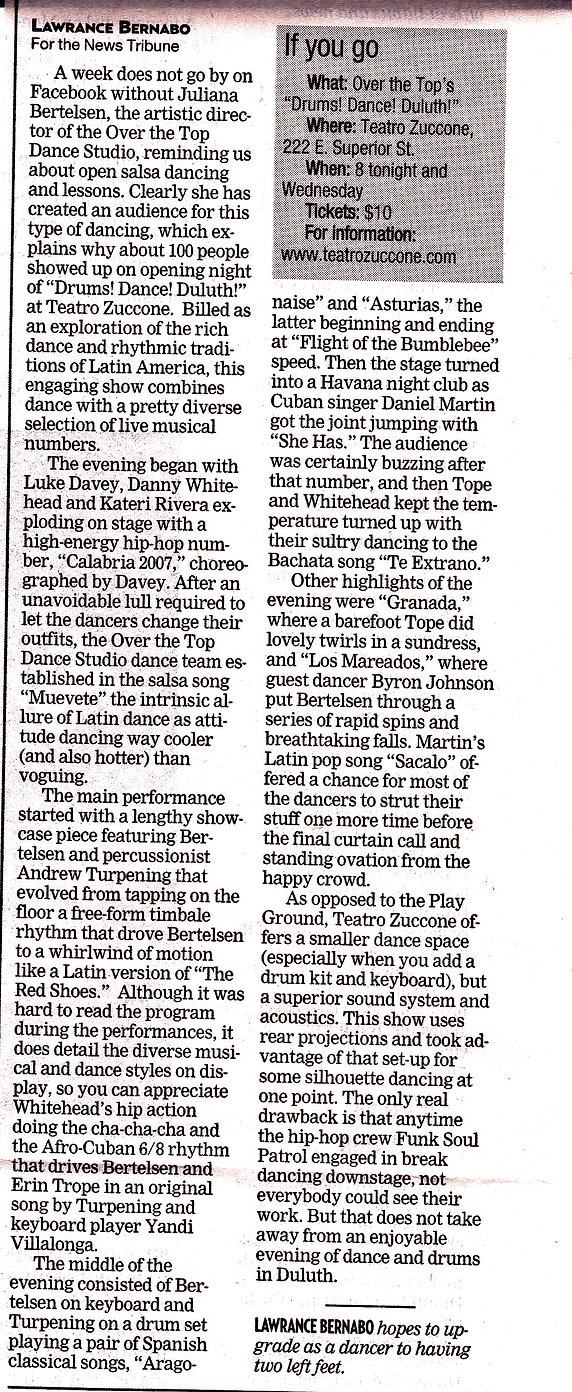 Duluth News Tribune review of Drums! Dan