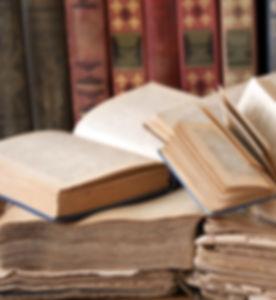book shelf, books pile with antique book
