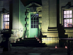 Front entrance at night - Lea Hall, Matlock