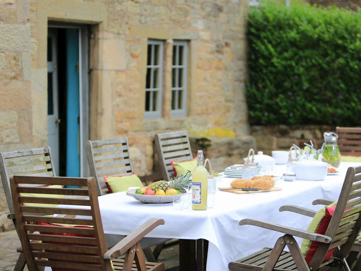 Patio with furniture suitable for outdoor dining -  Lea Hall, Matlock
