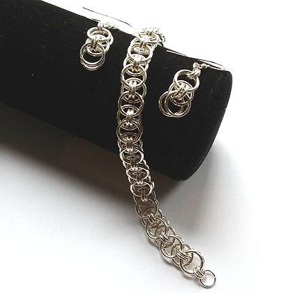 Celtic Helm Weave Bracelet & Earrings Set, Sterling SIlver