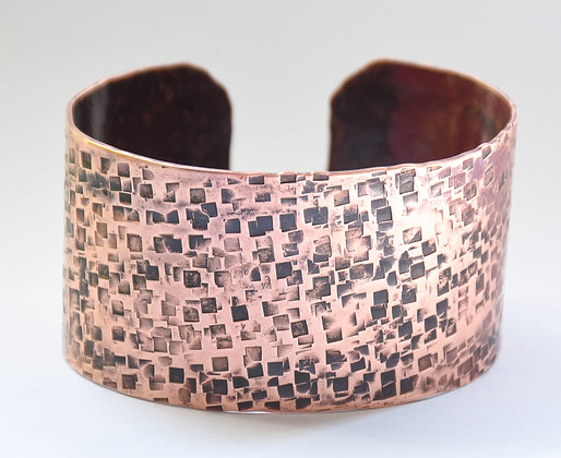 Square Peened Copper Cuff Bracelet
