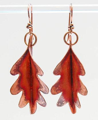 Fold Formed Oak Leaf Earrings