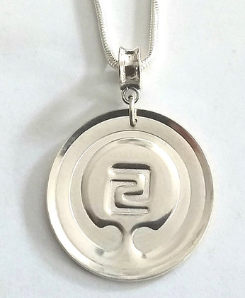 IOGKF Mon Pendant, Sterling Silver with Convex Tube Bail