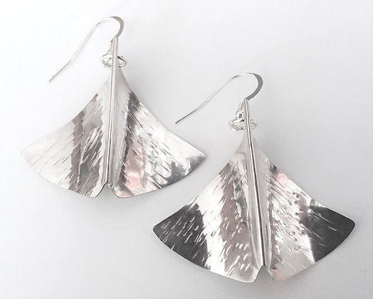 Ginkgo Leaf Earrings, Hand Forged Sterling Silver